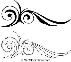 vettore, eleganza, elements., illustrazione, due