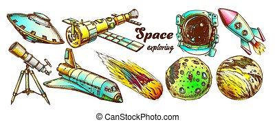 vettore, elementi, colorare, set, spazio, esplorare