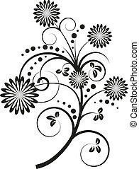 vettore, elementi floreali, disegno, illustrazione
