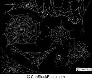 vettore, elementi, set, web ragno