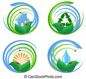 vettore, elements., progetto serie, illustrazione, ambientale