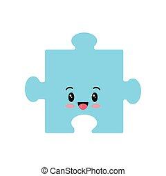 vettore, emoji, pezzo, isolato, icona, bianco, fondo., puzzle