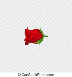 vettore, emoji., realistico, fiore rosso, rosa, 3d, isolated., icon.