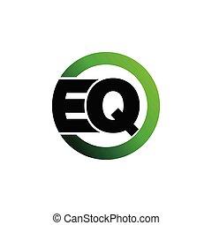 vettore, eq, cerchio, lettera, logotipo