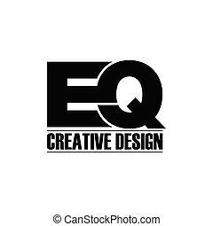 vettore, eq, semplice, lettera, logotipo