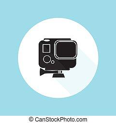vettore, eroe, pro, illustrazione, gopro, macchina fotografica, disegno, azione, silhouette, sport, hd