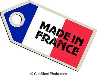 vettore, etichetta, fatto, francia