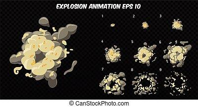vettore, explode., esplosione, sprite, animazione, effetto, esplodere, smoke., frames., foglio, cartone animato
