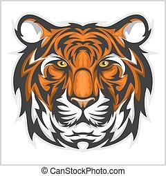 vettore, face., tiger, head., tigri, illustrazione