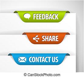 vettore, feedback, etichette, azione, contatto