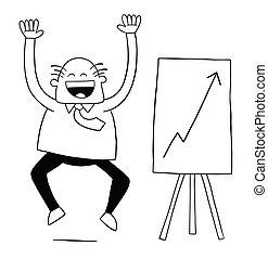 vettore, felice, alto, cartone animato, vendite, così, capo, molto, illustrazione, because