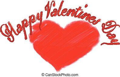vettore, felice, giorno, cuore, valentines, rosso