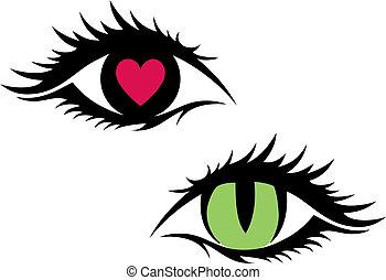 vettore, femmina, occhi