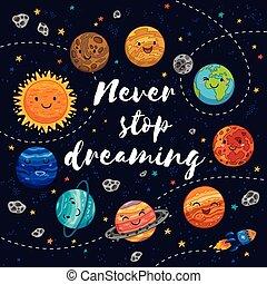 vettore, fermata, illustrazione, mai, motivazione, dreaming.