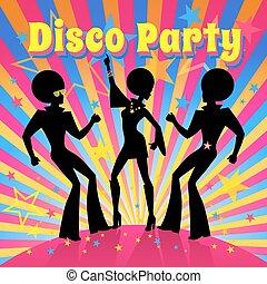vettore, festa., illustration., discoteca