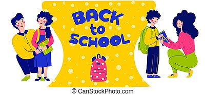 vettore, figlio, figlia, babbo, indietro, mamma, appartamento, carattere, scuola, illustration., escorts