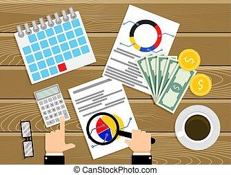 vettore, finanziario, verifica, analisi, infographics