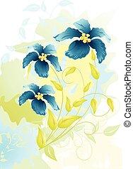 vettore, fiori, disegno, acquarello