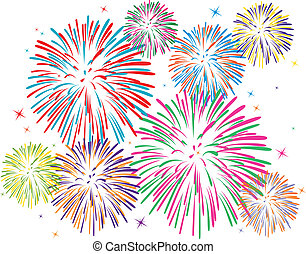 vettore, fireworks, colorito