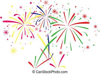 vettore, fireworks, fondo