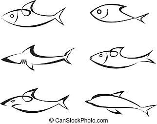 vettore, fish, set, -, icone