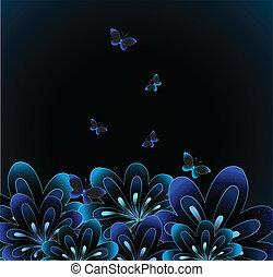 vettore, fondo., astratto, fiore, nero