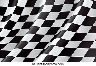 vettore, fondo, bandiera, checkered