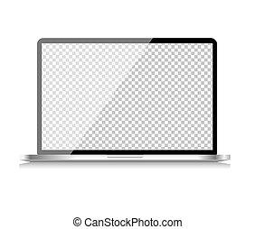 vettore, fondo., carta da parati, realistico, isolato, bianco, computer, laptop, illustrazione, trasparente, schermo