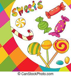 vettore, fondo, colorito, sweets., illustrazione