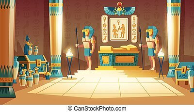 vettore, fondo, faraone, cartone animato, antico, tomba