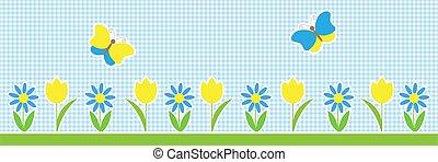 vettore, fondo, fiori, farfalle, orizzontale