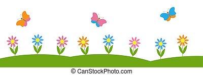 vettore, fondo, fiori, orizzontale, farfalle