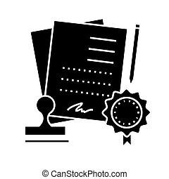 vettore, fondo, icona, isolato, segno, contratto, accordo, illustrazione