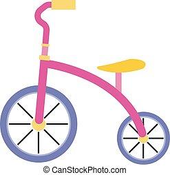 vettore, fondo., illustrazione, triciclo, bianco, rosa