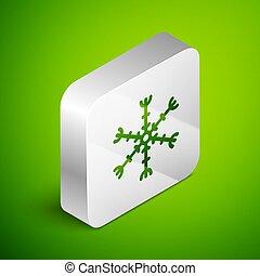 vettore, fondo., quadrato, isometrico, button., icona, isolato, verde, linea, fiocco di neve, illustrazione, argento