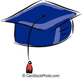 vettore, fondo, scuro, berretto, bianco, blu, graduazione, illustrazione