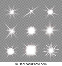 vettore, fondo., sopra, bagliori, set, illustrazione, trasparente, luce