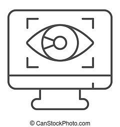 vettore, fondo, web, design., occhio, stile, sicurezza, controllo, linea, simbolo, mobile, magro, monitor, icona, concetto, domanda, cyber, contorno, icona, bianco, concetto, graphics.