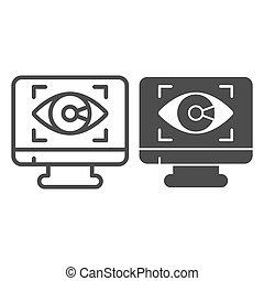 vettore, fondo, web, design., occhio, stile, sicurezza, controllo, linea, simbolo, mobile, monitor, icona, concetto, solido, domanda, cyber, contorno, icona, bianco, concetto, graphics.