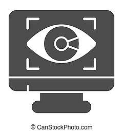 vettore, fondo, web, design., occhio, stile, sicurezza, controllo, simbolo, mobile, monitor, icona, concetto, solido, domanda, cyber, icona, bianco, glyph, concetto, graphics.