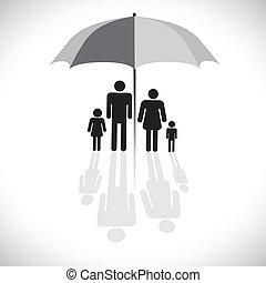 vettore, four(father, concetto, ombrello, riflessione, famiglia, &, graphic-, parasole, figlio, grafico, madre, daughter), icon., protection(insurance), simbolo., mostra