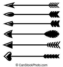 vettore, freccia nera, icone, set, arco