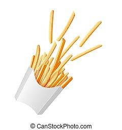vettore, frigge, realistico, carta, isolated., patata, francese, scatola, illustrazione
