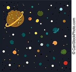 vettore, galassia, fondo, bianco, illustrazione