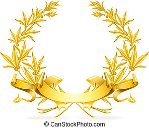 vettore, ghirlanda, oro