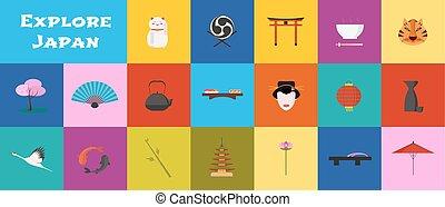 vettore, giappone, limiti, set, icone
