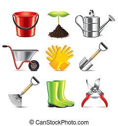 vettore, giardinaggio, set, attrezzi, icone