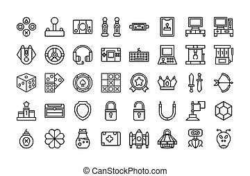 vettore, giochi, icona, stroke., isolato, bianco, illustrazione, collezione, contorno, editable, style., fondo.
