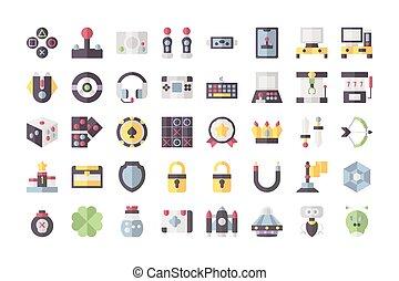vettore, giochi, icona, stroke., isolato, bianco, illustrazione, collezione, editable, style., appartamento, fondo.