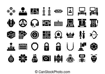 vettore, giochi, icona, stroke., isolato, glyph, bianco, illustrazione, collezione, editable, style., fondo.